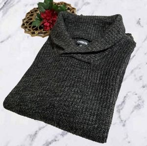 Thick Knit Shawl Collar Pullover Sweater